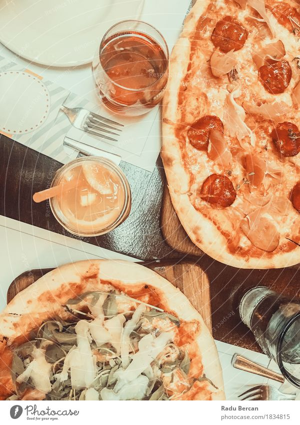 Pizza And Lemonade Juice On Table Food Orange Nutrition Eating Lunch Dinner Fast food Italian Food Beverage Drinking Cold drink Glass Straw Fork Kitchen