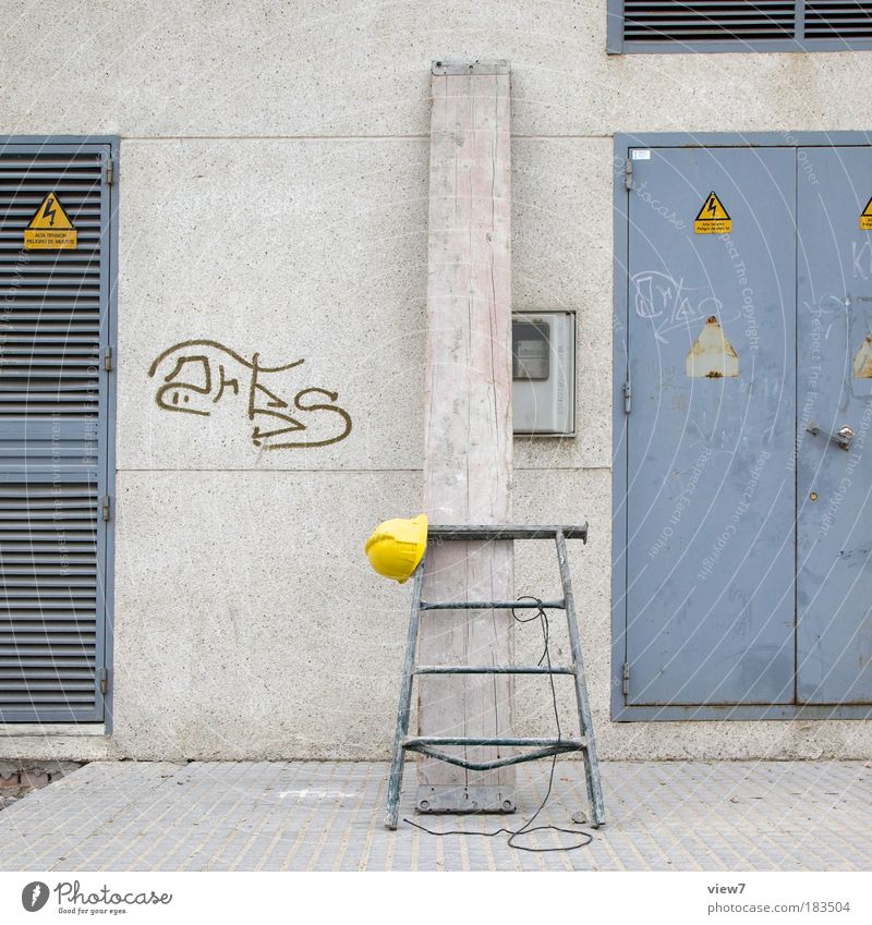 Old House (Residential Structure) Relaxation Wall (building) Gray Stone Wall (barrier) Line Contentment Metal Door Facade Safety Arrangement Simple Construction site