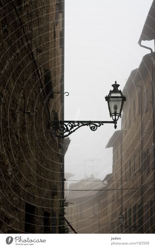 Old Calm Street Italy Autumn Architecture Fog Elegant Facade Building Tourism Lantern Historic Alley Pub
