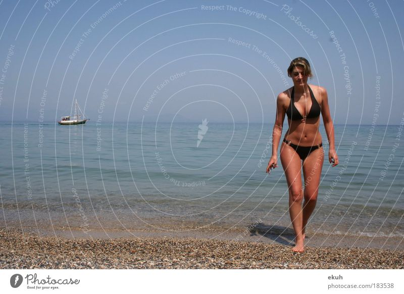 Corfu Sea II Colour photo Exterior shot Day Full-length Forward Human being Feminine Young woman Youth (Young adults) Body Skin 1 18 - 30 years Adults Beach