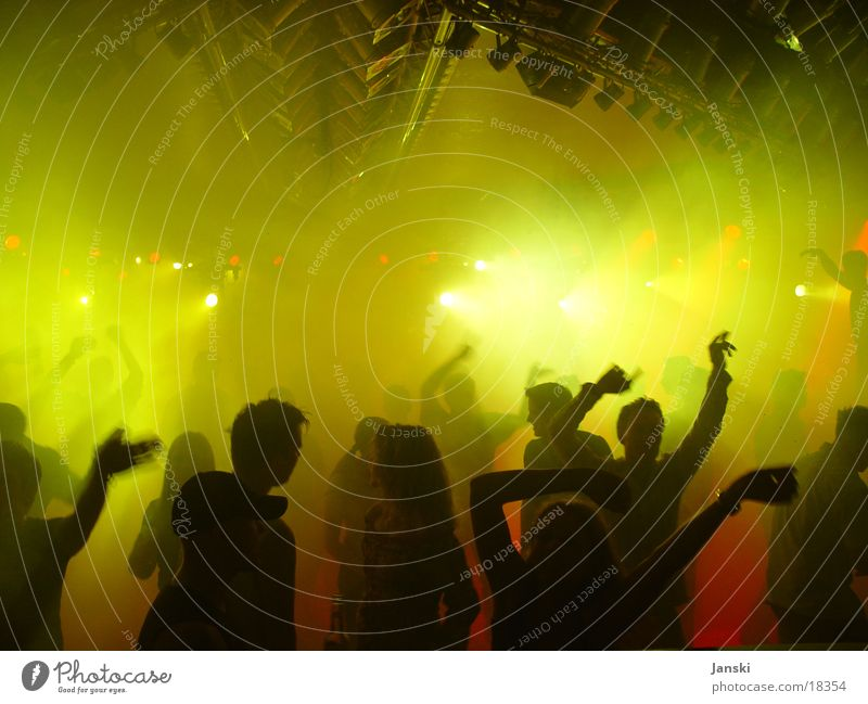 Hands Up I Disco Club Party Human being Light Flashy Green Yellow Red Weekend Dance Feasts & Celebrations Tall Technology Movement Joy Silhouette