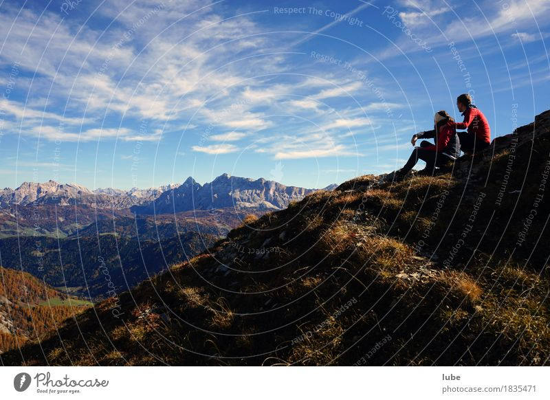 Vacation & Travel Far-off places Mountain Autumn Freedom Rock Tourism Hiking Trip Adventure Beautiful weather Hill Peak Alps Climbing Partner