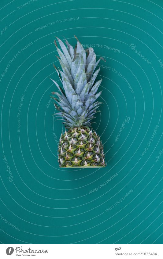 Half pineapple Food Fruit Pineapple Ananas leaves Nutrition Eating Organic produce Vegetarian diet Healthy Eating Delicious Green Turquoise Colour photo