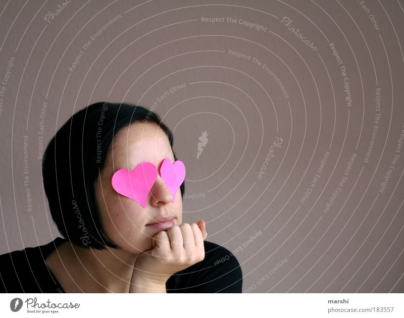 Woman Youth (Young adults) Love Feminine Emotions Head Hair and hairstyles Dream Moody Adults Together Heart Pink Wait Human being Romance