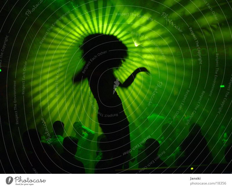 Club Dancer Human being Green Sun Joy Party Movement Feasts & Celebrations Disco Silhouette Light Crowd of people Floodlight Flashy