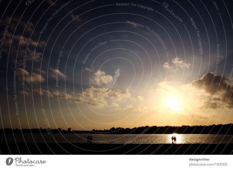 Human being Water Beautiful Sun Summer Beach Calm Love Twilight Freedom Happy Sadness Couple Lake Sand