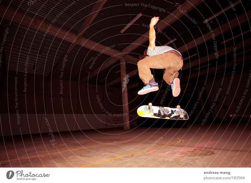Kickflip (but view) Colour photo Interior shot Artificial light Shadow Contrast Style Sports Skateboard Skateboarding Extreme sports Young man