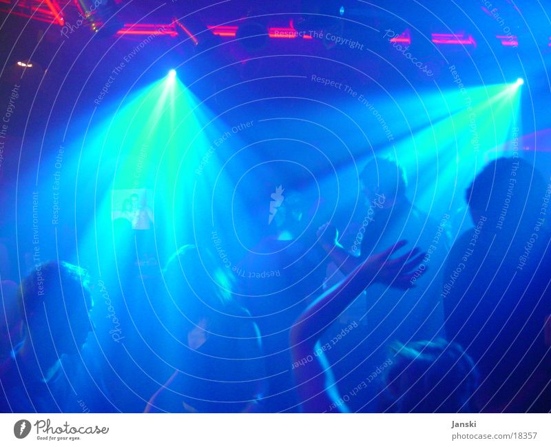 Dancing People I Disco Club Party Human being Light Flashy Red Green Weekend Dancer Silhouette Feasts & Celebrations Blue Movement Joy Crowd of people Sun