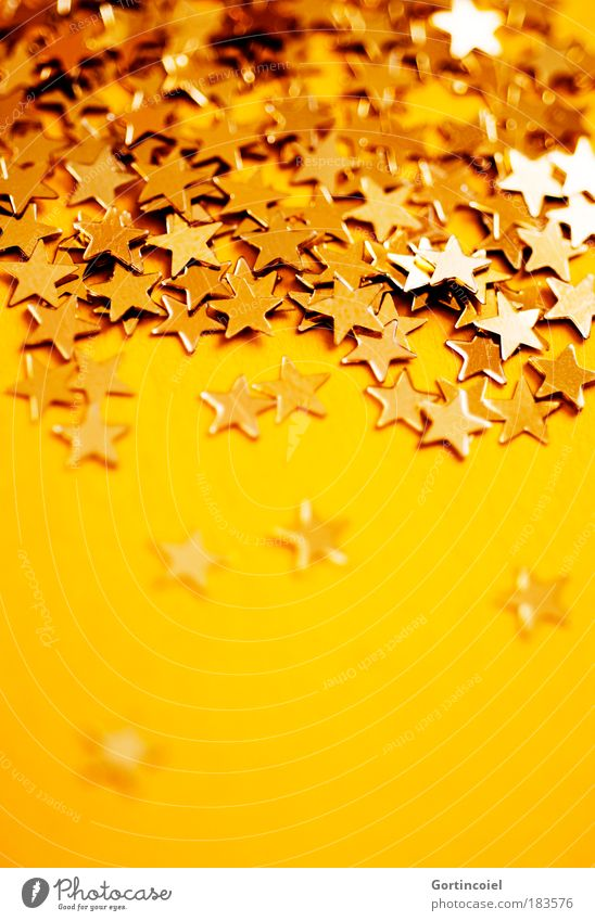Christmas & Advent Beautiful Winter Yellow Feasts & Celebrations Moody Glittering Decoration Gold Star (Symbol) Reflection Luxury Anticipation Magic Enchanting Festive