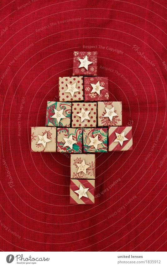Christmas & Advent Red Art Esthetic Creativity Digits and numbers Card Calendar Christmas tree Anticipation Work of art Symmetry Package December