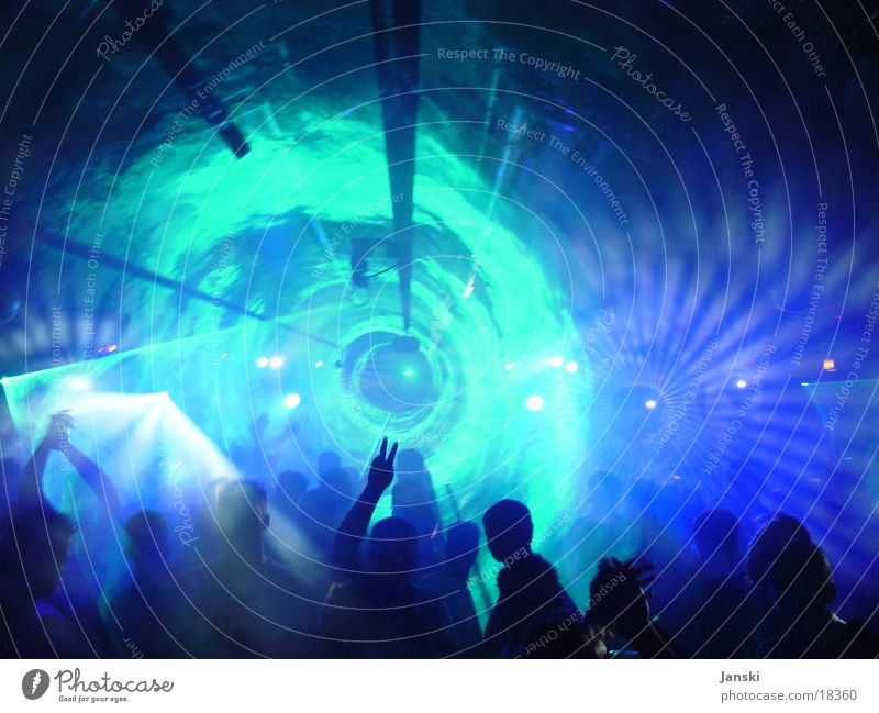 laser tunnels Disco Club Party Human being Laser Tunnel Light Fog Flashy Weekend Oval Round Dance Feasts & Celebrations Blue Technology Movement Joy