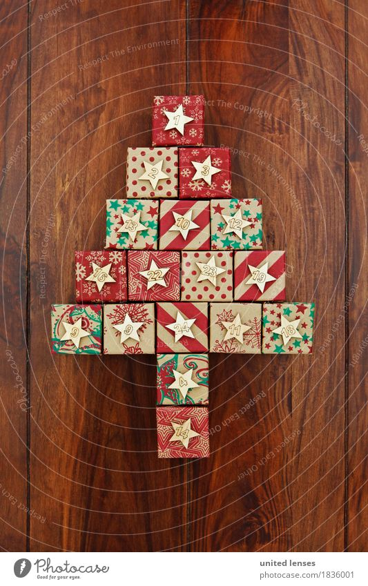 Christmas & Advent Art Esthetic Creativity Gift Digits and numbers Card Christmas tree Anticipation Fir tree Wooden table Work of art Christmas tree decorations 24 Giving of gifts