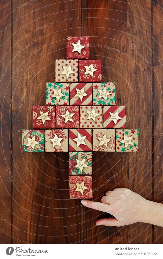 AKDR# Christmas Calendar Show! Art Work of art Esthetic Christmas & Advent Anticipation Fir tree Gift Many Digits and numbers 24 Wooden table Star (Symbol)