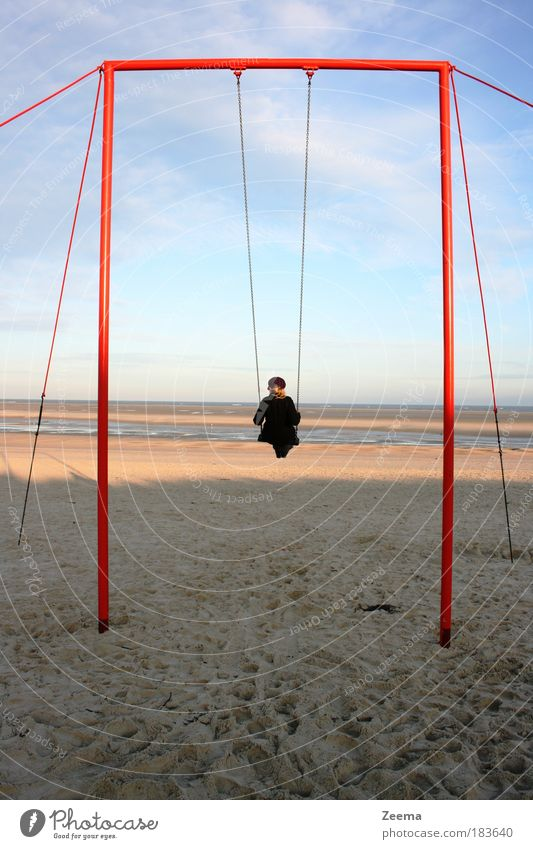 Human being Child Vacation & Travel Ocean Playing Sand Coast Morning Summer vacation To swing