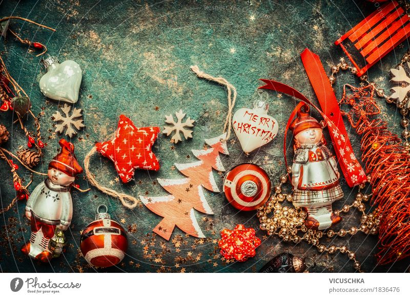 Christmas, background with red decoration Style Design Joy Living or residing Decoration Feasts & Celebrations Christmas & Advent Retro Tradition