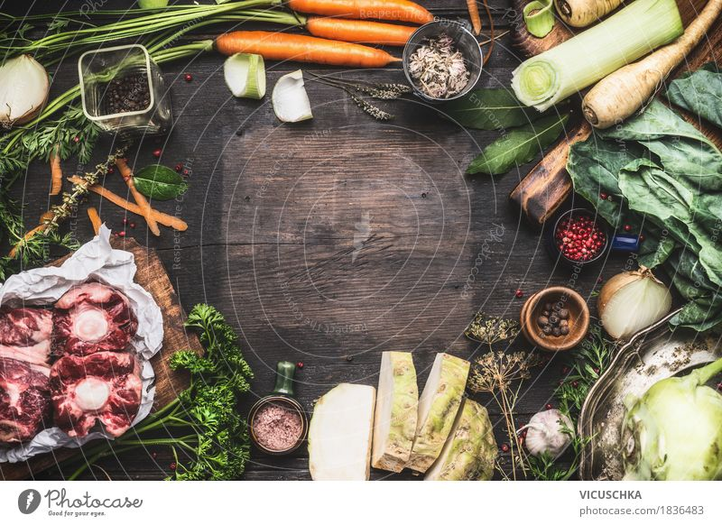 Healthy Eating Life Style Food Design Living or residing Nutrition Table Herbs and spices Kitchen Vegetable Organic produce Crockery Meat Dinner