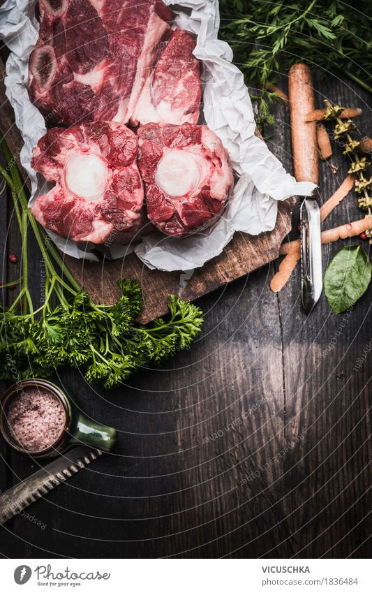 Healthy Eating Dark Food photograph Style Design Nutrition Table Herbs and spices Kitchen Gastronomy Organic produce Meat Dinner Wooden table