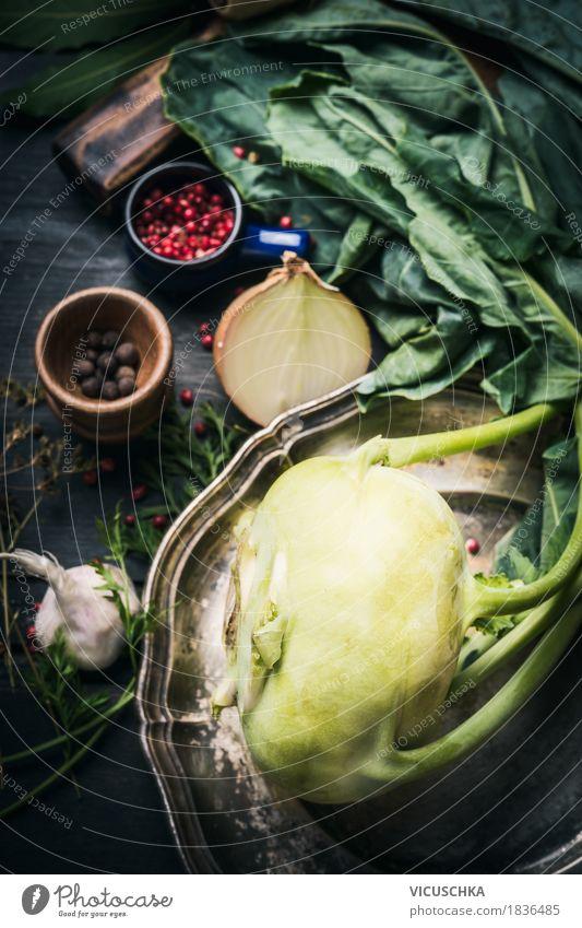 Fresh kohlrabi on a dark kitchen table Food Vegetable Nutrition Organic produce Vegetarian diet Diet Crockery Style Design Healthy Eating Life Summer Table