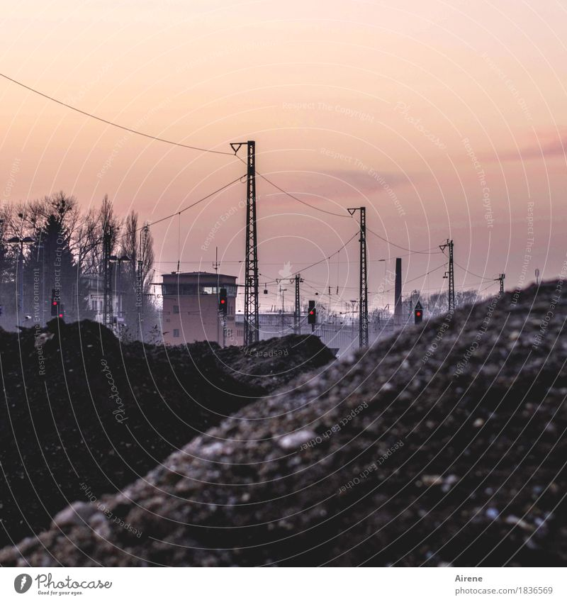 City Dark Building Brown Orange Metal Transport Earth Dirty Gloomy Construction site Hill Cable Chaos Railroad tracks Electricity pylon