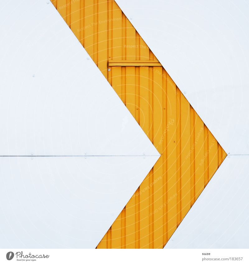 See here Style Design Art Architecture Wall (barrier) Wall (building) Facade Line Arrow Sharp-edged Simple Modern Crazy Point Yellow White Illustration Metal