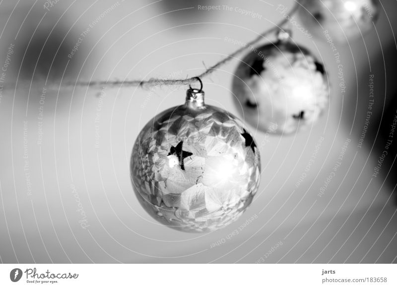 Christmas & Advent White Glittering Glass Elegant Black & white photo Peace Decoration Serene Glitter Ball Christmas decoration