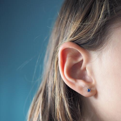 my first earring Human being Feminine Child Girl Infancy Life Hair and hairstyles Ear 1 8 - 13 years Earring Blue Beautiful Piercing Jewellery Conceited