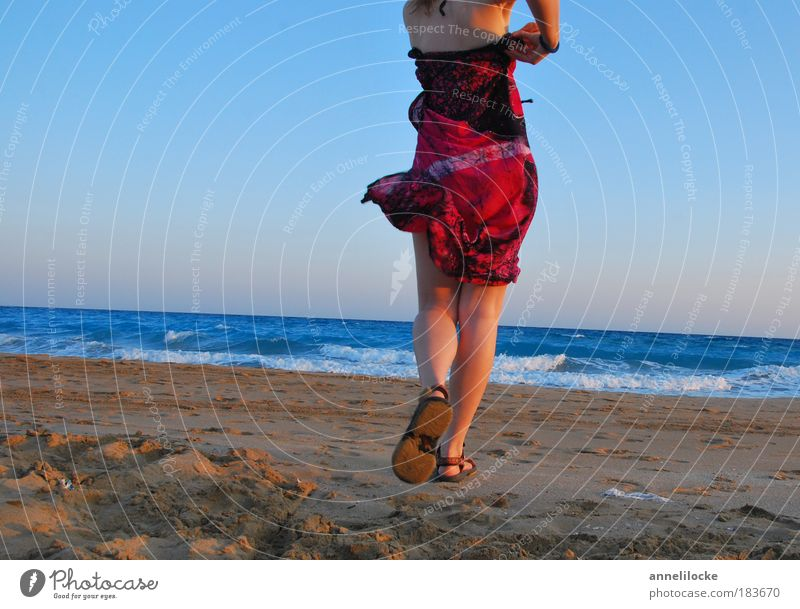 summertime Evening Rear view Joy Happy Life Contentment Vacation & Travel Tourism Far-off places Summer Beach Ocean Island Waves Feminine Woman Adults Skin Back