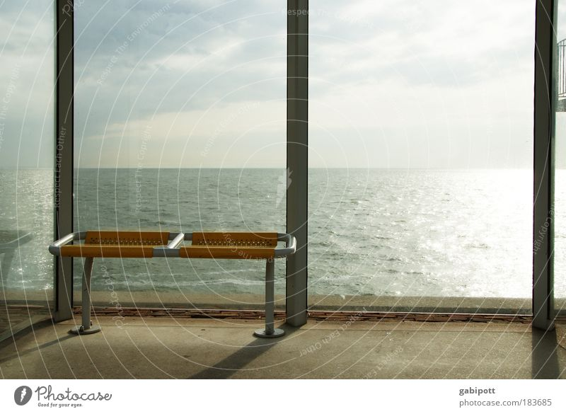 Sky Ocean Clouds Yellow Relaxation Coast Wait Time Shadow Light Bench Station Plastic Bus Navigation Beautiful weather
