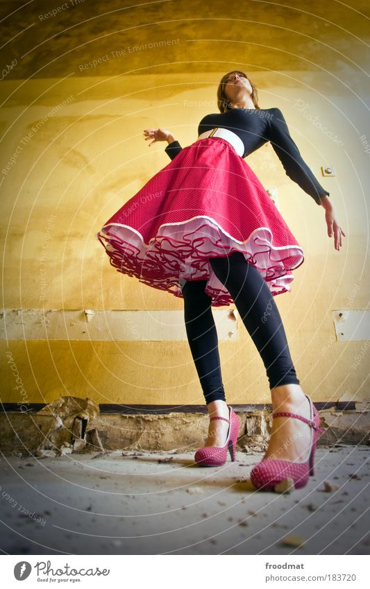 elegance Colour photo Multicoloured Interior shot Worm's-eye view Wide angle Full-length Forward Human being Feminine Young woman Youth (Young adults) Fashion