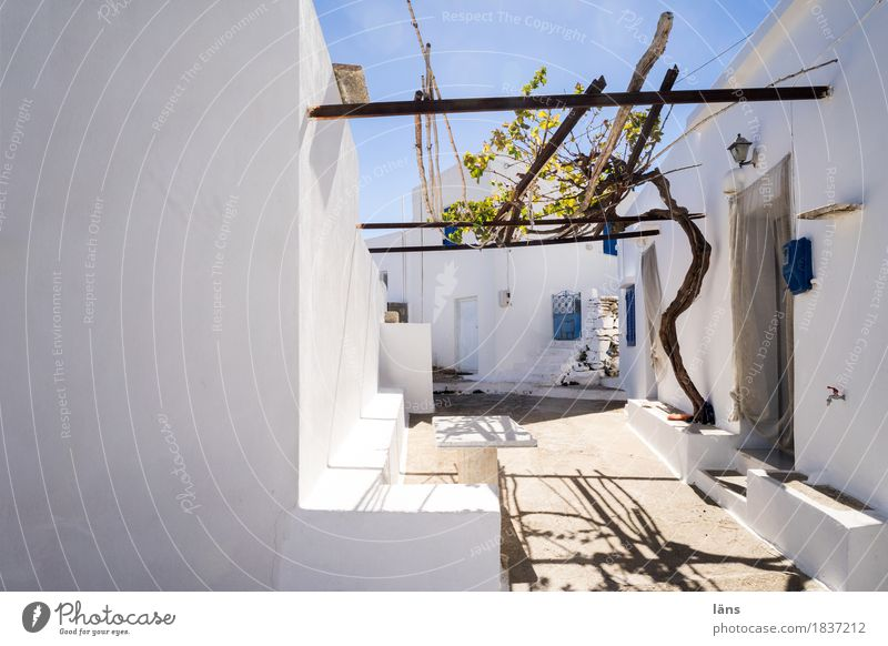 pergola Terrace Interior courtyard Sun Sunlight Mountain village Weather protection House (Residential Structure) Vine Wall (building) Greece