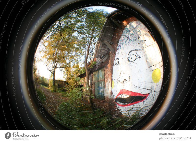 I FEEL BLU Colour photo Multicoloured Exterior shot Deserted Day Flash photo Light Sunlight Wide angle Fisheye Portrait photograph Forward Art Painter