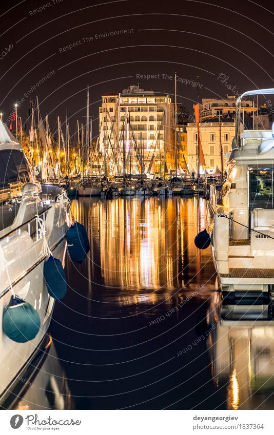 Yachts in the cannes bay at night. Sky Vacation & Travel City Ocean Landscape Coast Building Watercraft Idyll Illuminate France Sailing Rich Town Yacht Regatta