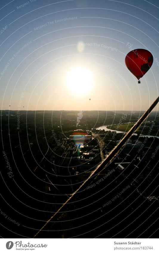 at the Elbknick Dresden Town Outskirts Populated Traffic infrastructure Aircraft Hot Air Balloon Flying Exceptional Beautiful Red Rope Backup Horizon Sun
