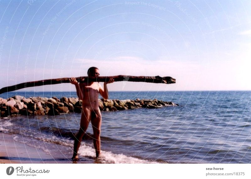 act of balance Ocean Summer Man balancing act Nude photography Male nude
