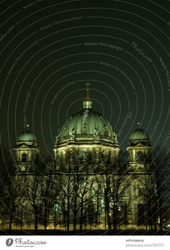 Berlin Cathedral by night Colour photo Exterior shot Deserted Night Artificial light Long exposure Long shot Capital city Dome Monument Historic Architecture