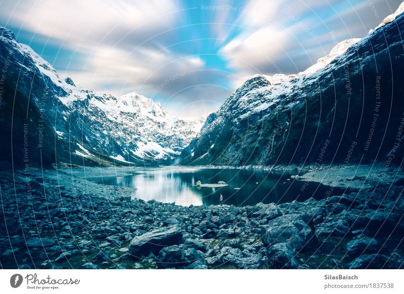 Ice Lake Adventure Climbing Mountaineering Hiking Human being Young man Youth (Young adults) 18 - 30 years Adults Nature Landscape Sky Clouds Climate change