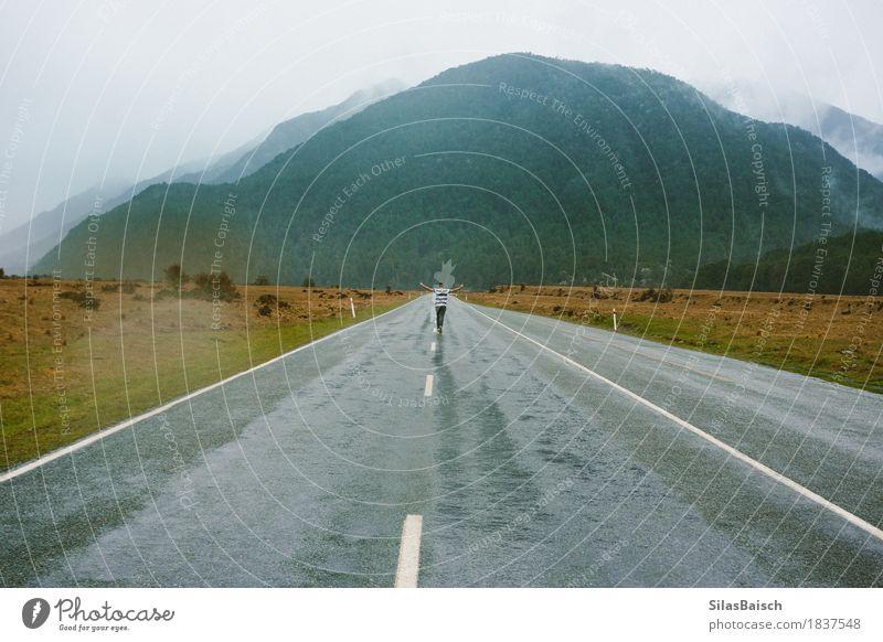 Foggy Highways Nature Plant Landscape Joy Forest Mountain Street Autumn Moody Rock Rain Fear Idyll Wind Happiness Empty
