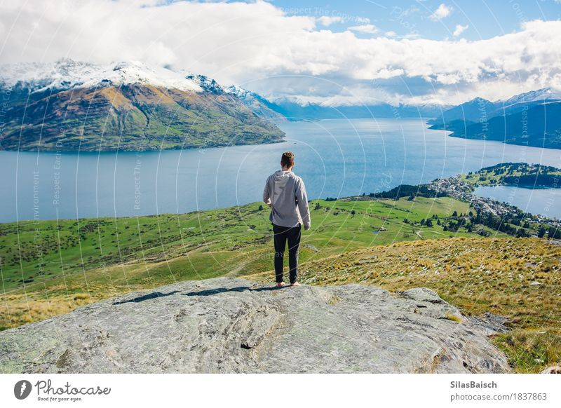 Explore New Zealand Nature Vacation & Travel Youth (Young adults) Summer Young man Landscape Joy 18 - 30 years Mountain Adults Lifestyle Happy Freedom Lake Rock Horizon