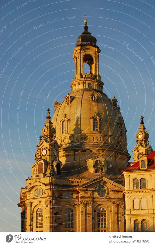 DR# Women Art Esthetic Dresden Frauenkirche Historic Historic Buildings History book Past Landmark Tourist Attraction Tourism Domed roof Blue sky Saxony