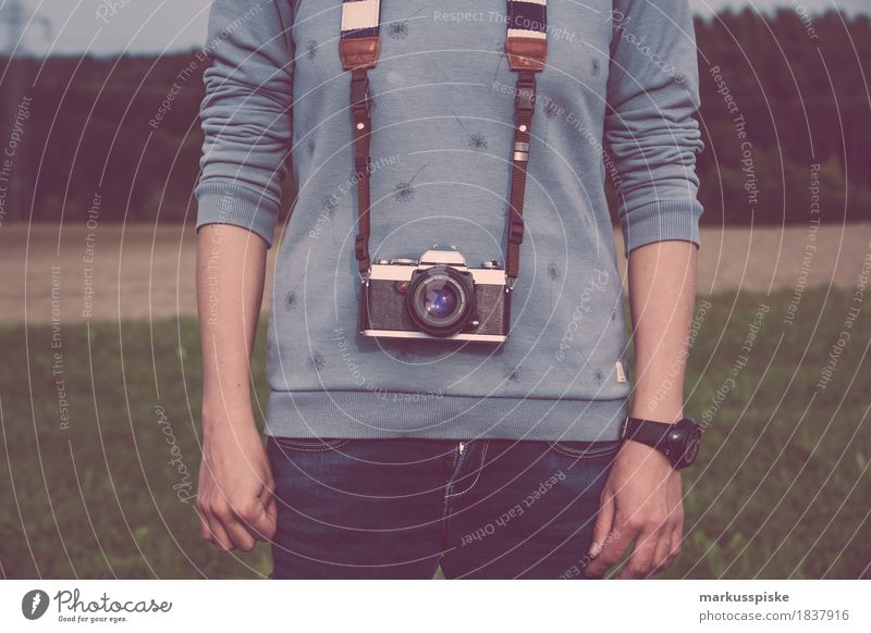 young woman with analog photo camera Style Design Media Hip & trendy Retro 35mm Analog aperture black chrome classic creative movie focus individuality lens