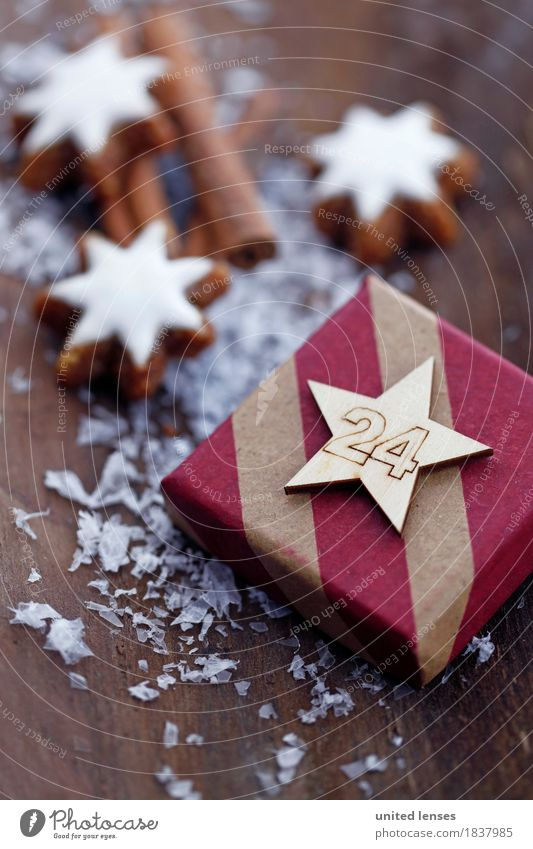 AKCGDR# Gifts I Art Work of art Esthetic 24 Christmas & Advent Card Star cinnamon biscuit Cinnamon Snow Wood backing Anticipation Giving of gifts Colour photo