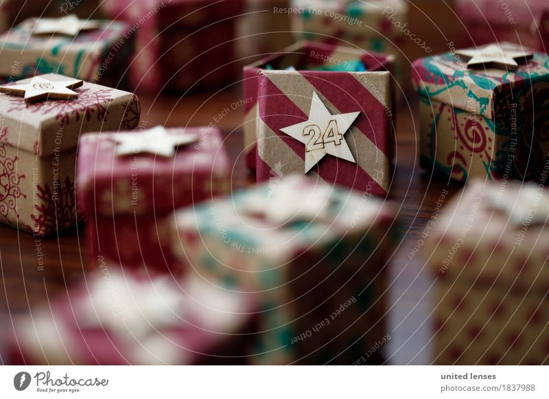 AKCGDR# Bescherung II Art Work of art Esthetic Giving of gifts Gift Package 24 Christmas & Advent Stars Many Multicoloured Colour photo Interior shot
