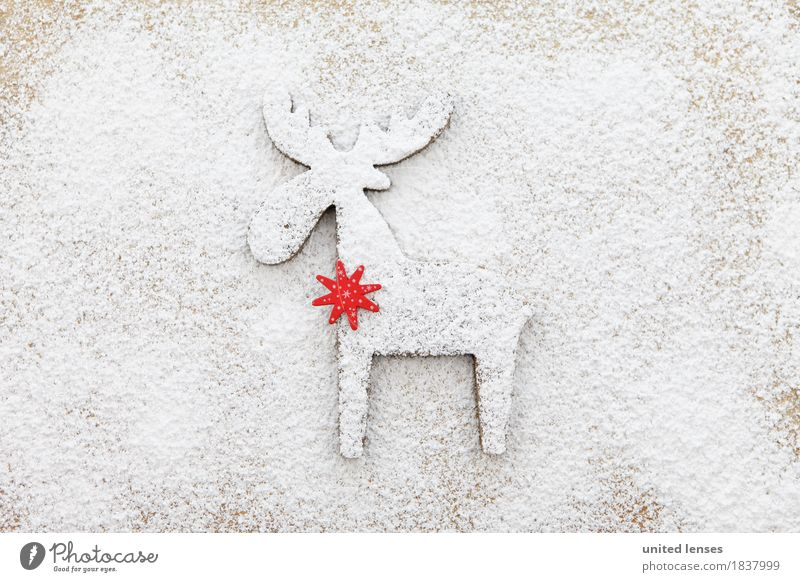 AKCGDR# Snow track II Art Work of art Esthetic Reindeer Red Star (Symbol) Deer Christmas & Advent White Flour Confectioner`s sugar Structures and shapes