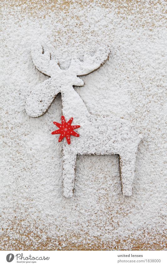 AKCGDR# Snow track III Art Work of art Esthetic Card Christmas & Advent White Reindeer Structures and shapes Flour Confectioner`s sugar Bright Colour photo