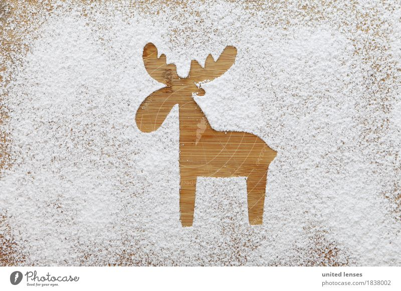 AKCGDR# Snow track IV Art Work of art Esthetic Flour Confectioner`s sugar Reindeer Wooden board White Christmas & Advent Card Silhouette Colour photo