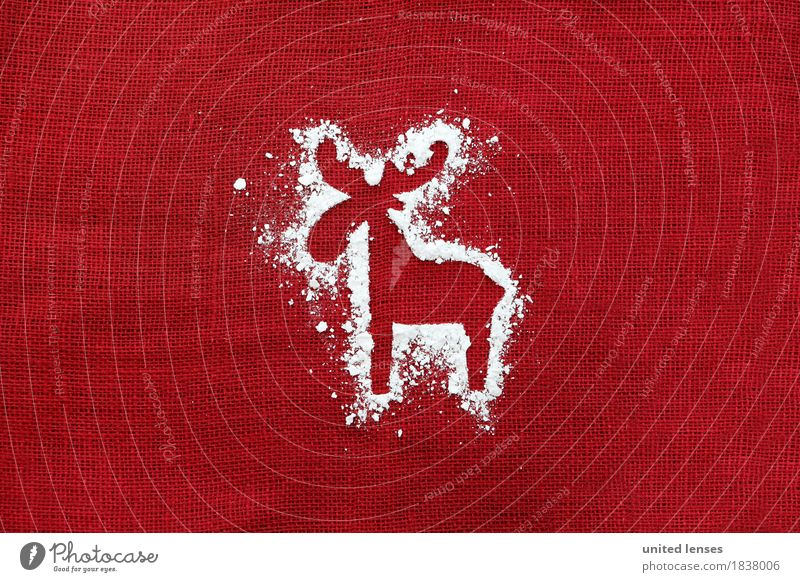 AKCGDR# Snow track VII Art Work of art Esthetic Reindeer Christmas & Advent Card Structures and shapes Red December Creativity Silhouette Contour Colour photo