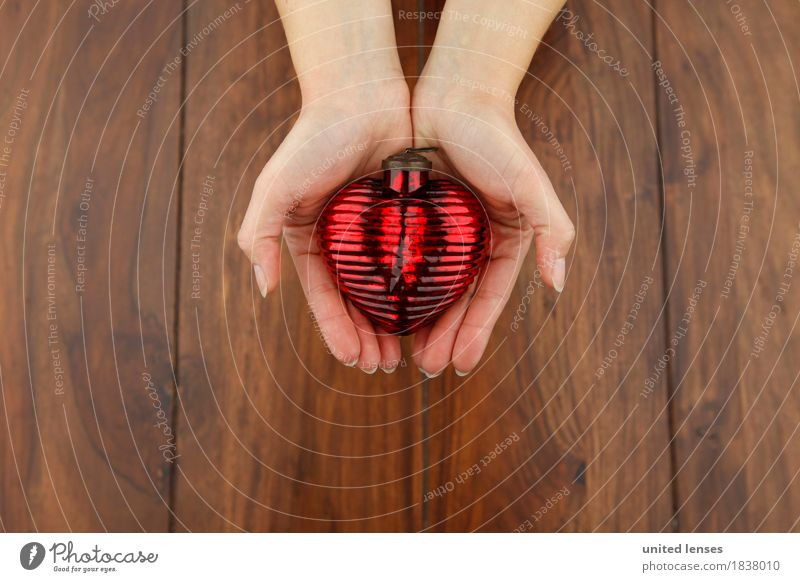 Christmas & Advent Hand Art Esthetic Heart To hold on Card Wooden table Work of art Sincere Heart-shaped Hearty Cardiovascular system Heartless Heartrending