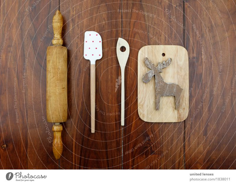 AKCGDR# Symme kitchen Art Work of art Esthetic Kitchen Rolling pin Spoon Wooden board Reindeer Christmas & Advent Cooking Kitchen Table Woody Point Colour photo