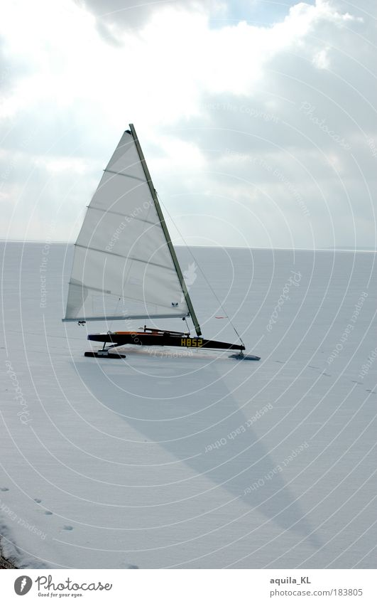 White Winter Ice Wind Sail Clouds in the sky Blade Cloud cover Ice sheet Bright background Beach surfing Landsailing