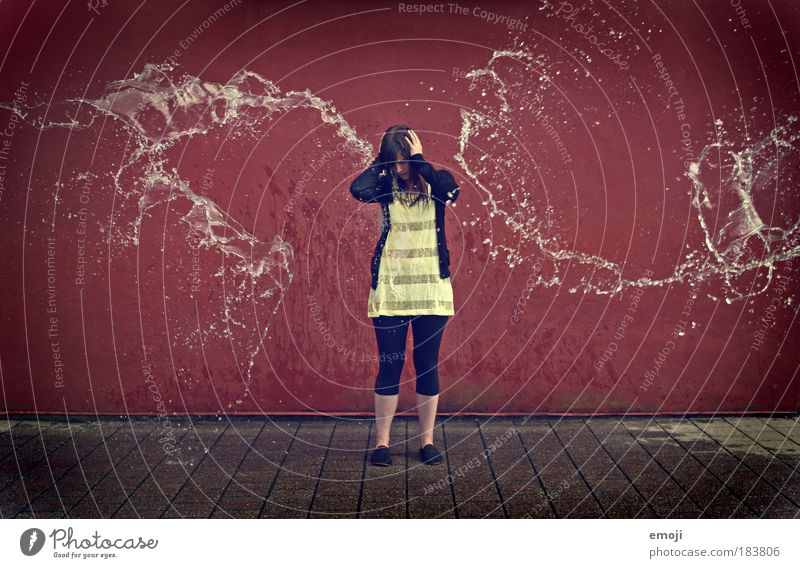 Human being Youth (Young adults) Red Water Yellow Feminine Woman Multicoloured Fear Adults Protection Situation Inject Young woman Full-length Jet of water